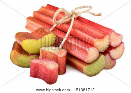 Rhubarb bundle stack isolted on white background