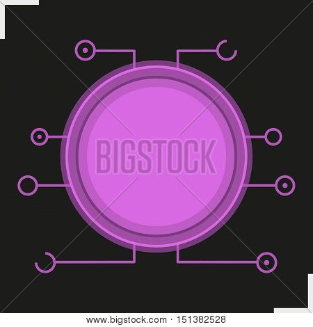 Digital microchip frame. Purple color futuristic chipset icon. Sci-fi user interface. Cyber technology background. Computer circuit board. Science fiction gui concept. Isolated vector illustration