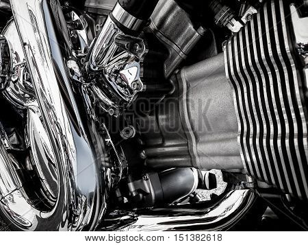 Motorcycle engine closeup as a background, horizontal