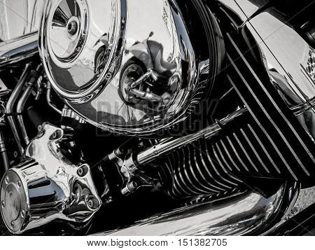 Motorcycle engine as background, close up view