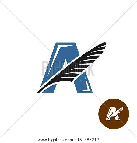 Letter A elegant logo with feather. Writers club concept.