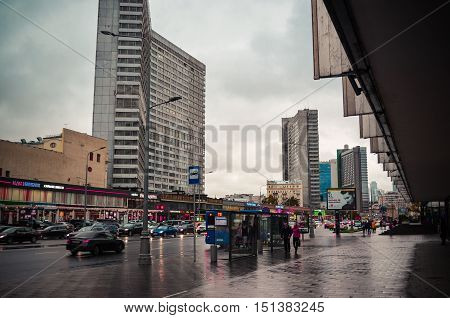 Moscow, Russia - October 04, 2016 - View of New Arbat Avenue in rainy autumn day. Artistic post processed photo.
