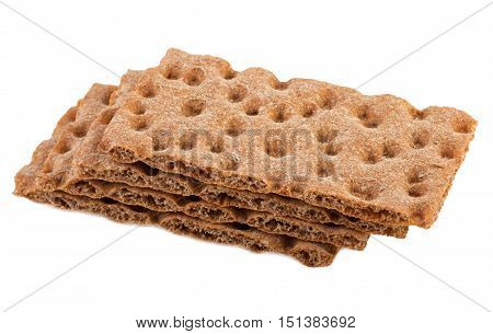 Crispbread Stack crisp bread isolated on white background