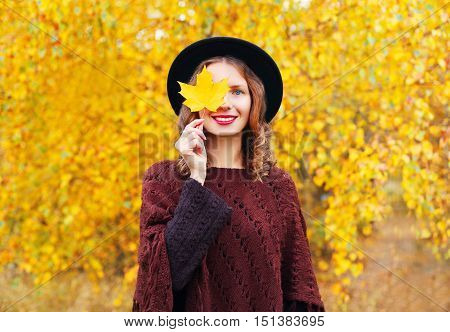 Autumn Portrait Pretty Smiling Woman Wearing A Black Hat And Knitted Poncho Over Sunny Yellow Leaves