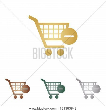 Vector Shopping Cart With Remove Sign. Metal Icons On White Backgound.