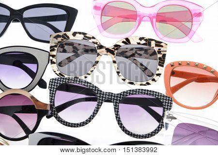 Set of many sunglasses