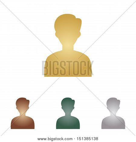 User Avatar Illustration. Anonymous Sign. Metal Icons On White Backgound.