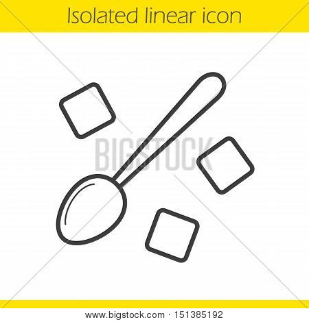Spoon with refined sugar cubes linear icon. Thin line illustration. Lump sugar with teaspoon contour symbol. Vector isolated outline drawing