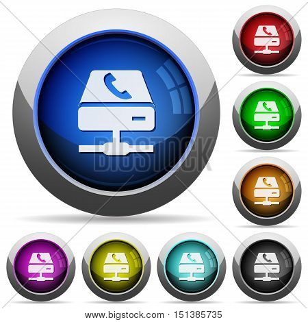Set of round glossy VoIP services buttons. Arranged layer structure.