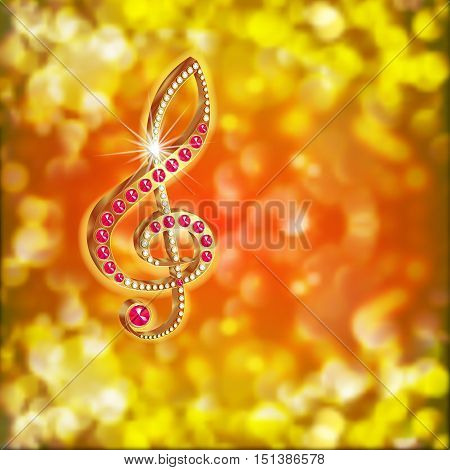 Golden musical treble clef with precious stones diamonds and rubies on the bright blurred background.