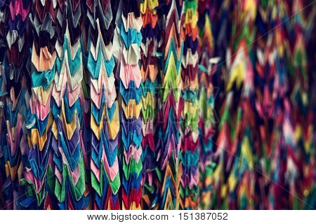 Thousand Origami Cranes at Japanese buddhist temple. 2016