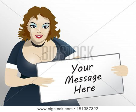 Brown hair XL size model holding board for your text.