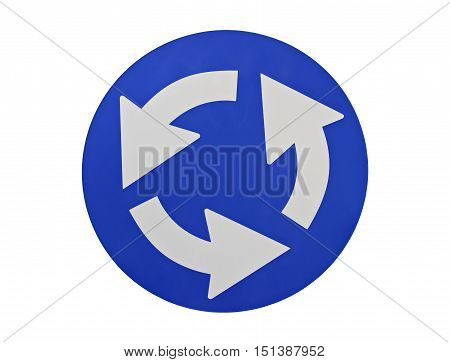 Street traffic sign meaning roundabout isolated on white background