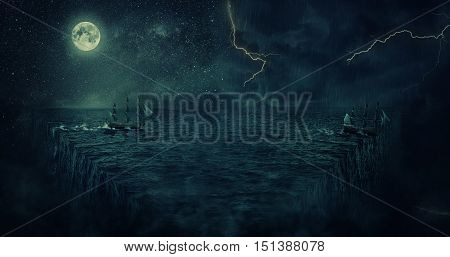 Abstract background with a ship sailing lost in the ocean at night. Adventure and journey concept. Parallel universe repetitive continuity and multiverse theory