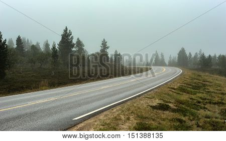 a road in Finland in a foggy day
