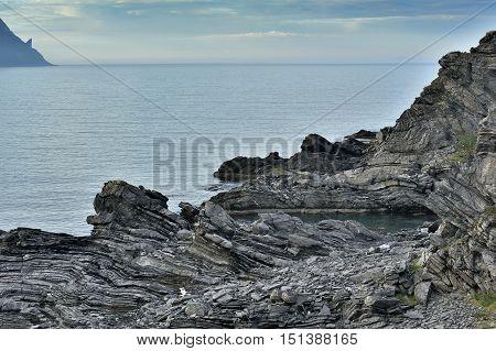 sea coastline near Skarsvag Finnmark province Norway