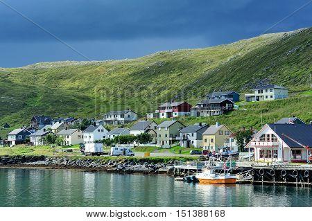 Skarsvag village in the coast of RisfjordenNorway