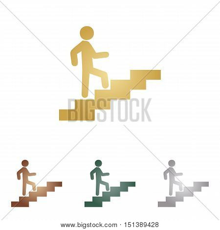 Man On Stairs Going Up. Metal Icons On White Backgound.