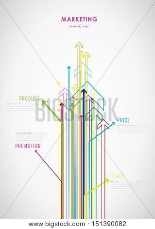 Marketing mix business infographic background with colorful arrows - light version.