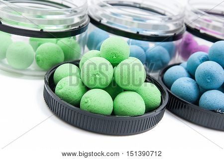 Fishing Baits For Carp. Fishing Boilies For Big Carp Fishing On White Background..