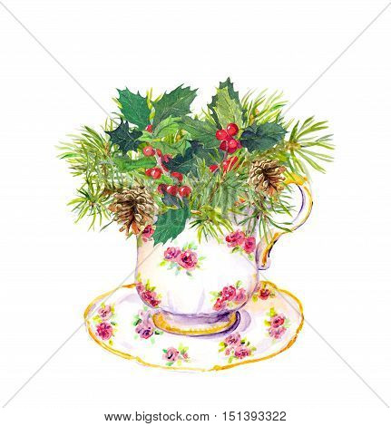 Christmas tea cup - fir tree, mistletoe. Vintage watercolor for tea time