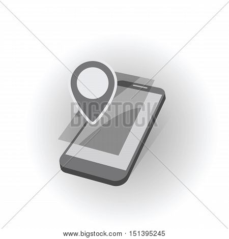 mobile device with geo map gps mark symbol as geo location searching concept abstract vector illustration