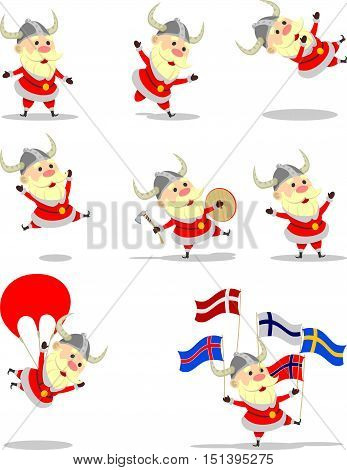 Set Santa Claus illustrations in Viking costume