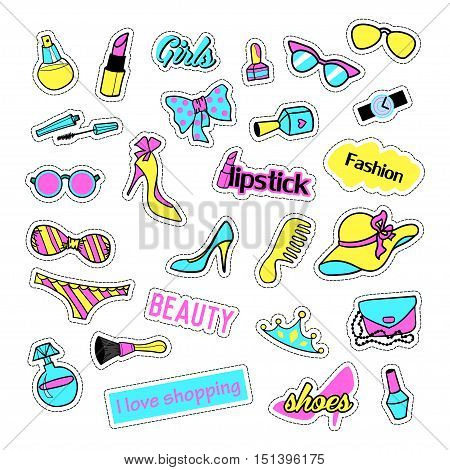 Pop art set with fashion patch badges and girls elements. Stickers, pins, patches, quirky, handwritten notes collection. 80s-90s style. Trend. Vector illustration isolated. Vector clip art.