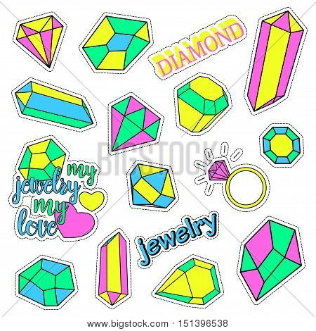 Pop art set with fashion patch badges and different diamonds, jewelry. Stickers, pins, patches, quirky, handwritten notes collection. 80s-90s style. Trend. Vector illustration isolated. Clip art.