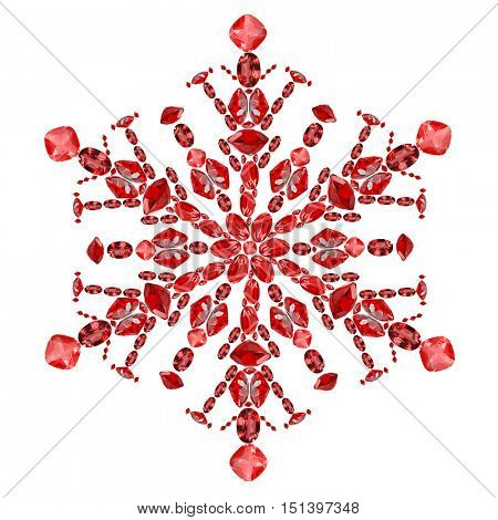 snowflake shape from red ruby gems isolated on white background