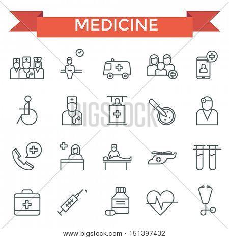 Medicine icons, thin line flat design