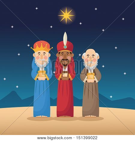 Three wise men cartoon with gift icon. Holy family and merry christmas season theme. Colorful design. Vector illustration