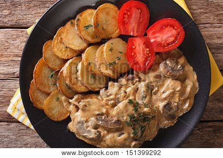 Diana Steak With Mushrooms And Cream Sauce Close-up. Horizontal Top View