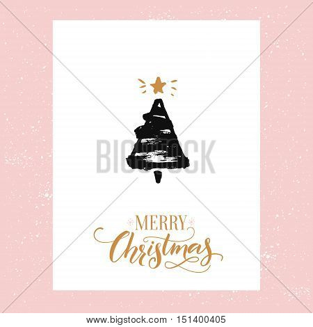 Merry Christmas text and sketched Christmas tree. Vector greeting card design with gold text and black ink drawing