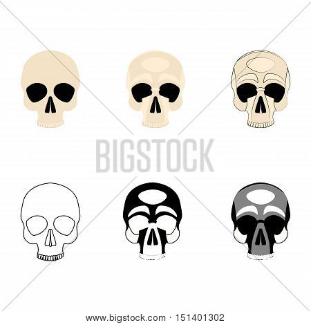Set icons human skulls logo in various styles, silhouette, line, color, simple, monochrome, medicine division at the skull bones isolated on a white background