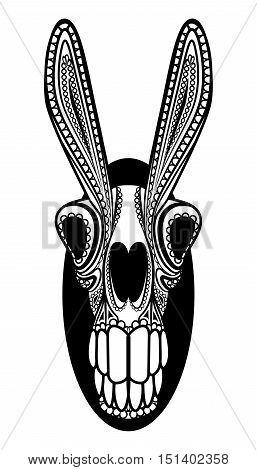 El Burro Dia de los Muertos Donkey Skull Vector Mexican Mule