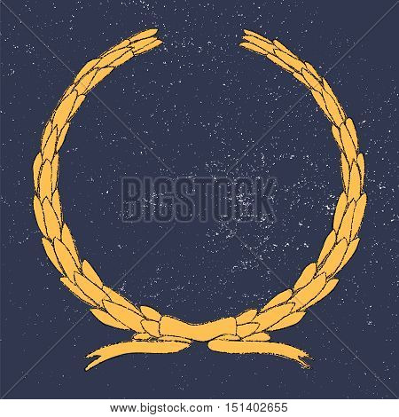 Hand drawn laurel wreath, decorative element and embellishment. Retro style graphics. Grunge background