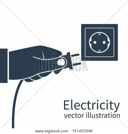 Electric power plug holding in hand black icon isolated on white background. Unplug plugged in wall socket. Vector illustration flat design. Connecting power plug.