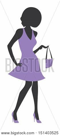 Fashion Silhouette Afro Woman Model Female Elegant Dress Silhouette
