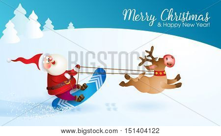Santa snowboarding with Reindeer. Merry Christmas card with snow landscape. Vector illustration for your design. Old men and reindeer cartoon characters. Christmas and New Year theme
