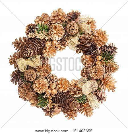 Christmas wreath in gold colors isolated on white