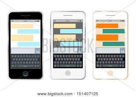 Mobile messenger chat, hands with smartphone sending a message. Isometric flat design, vector illustration. Smartphone keyboard, mobile phone keypad vector mockup. Keyboard for mobile device.