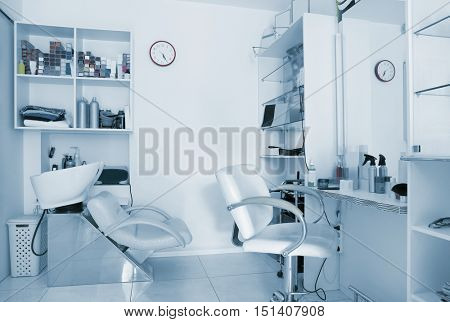 Barber work place in modern beauty salon
