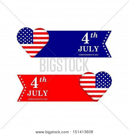 4th of July. Independence Day. United states of America symbols. USA. Holiday.Heart with american flag.