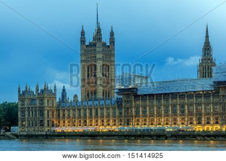 Night photo of Houses of Parliament, Palace of Westminster,  London, England, Great Britain