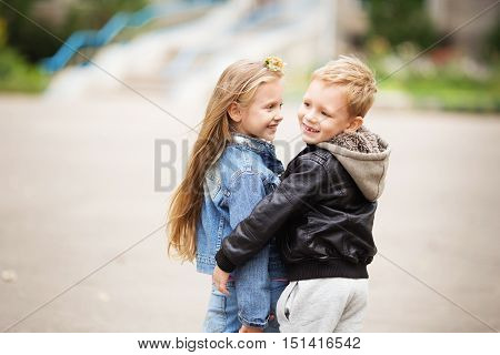 Portrait Of Two Happy Children - Boy And Girl