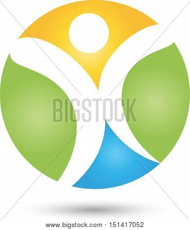 Man and globe, colored, naturopath, man in circle logo