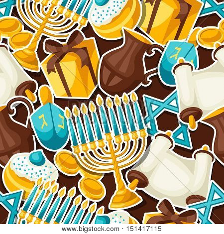 Jewish Hanukkah celebration seamless pattern with holiday sticker objects.
