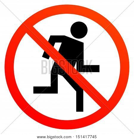No run sign or symbol on white vector illustration