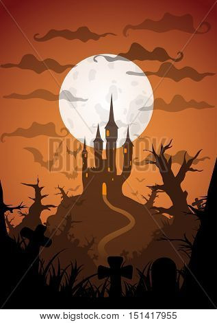 Halloween orange poster castle at night with full moon vertical a3, a4, a5 format size. Vector background